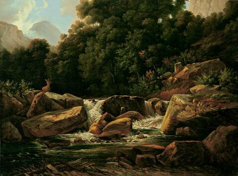 Johann Wilhelm Schirmer - A CREEK IN THE HIGH MOUNTAINS WITH DEER