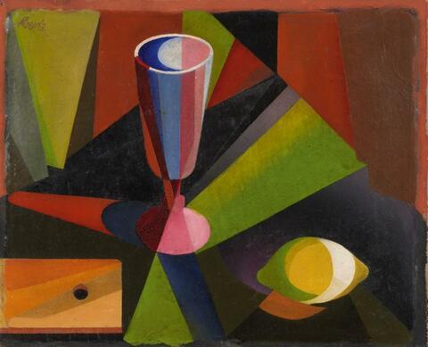 Heinrich Hoerle - Stilleben mit Glas und Zitrone