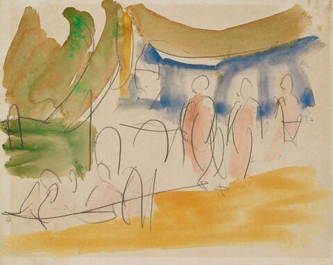 Ernst Ludwig Kirchner - Figural Scene Outdoors