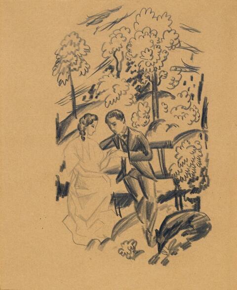 August Macke - Liebespaar mit Hund