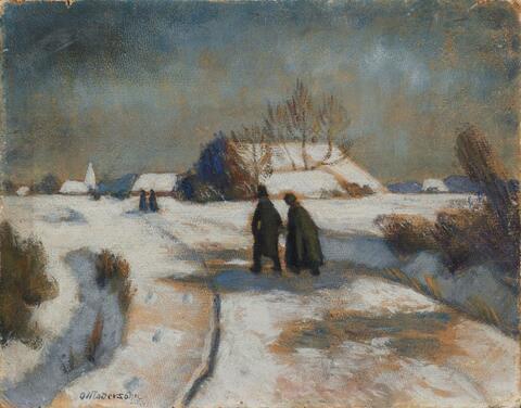 Otto Modersohn - Winterlandschaft mit Kirchgängern