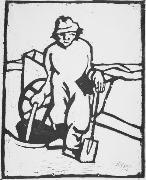 Wilhelm Morgner - Mann mit Spaten und Karre