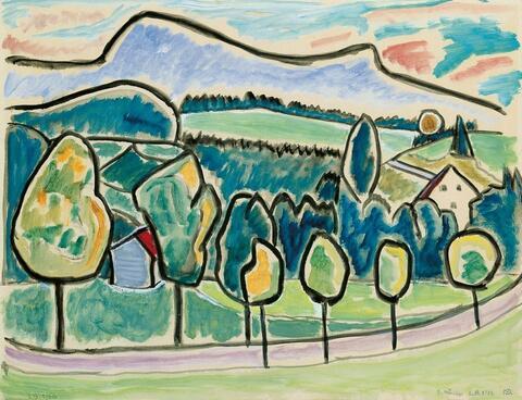 Gabriele Münter - Landschaft mit blauem Berg