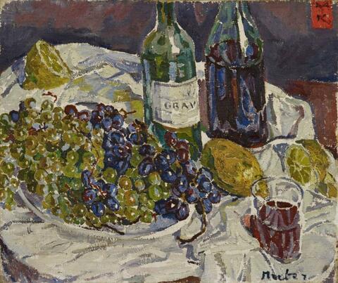 Mela Muter (Maria Melania Mutermilch) - Stilleben mit Glas, Flasche und Trauben
