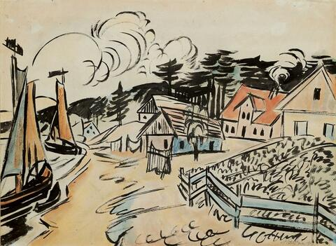 Hermann Max Pechstein - Fischerdorf Village on the Curanian spit