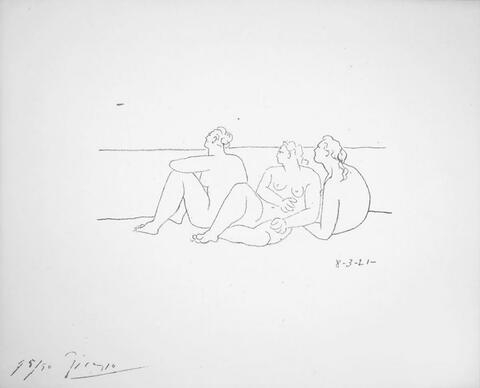Pablo Picasso - Sur la Plage II (3 Nus)