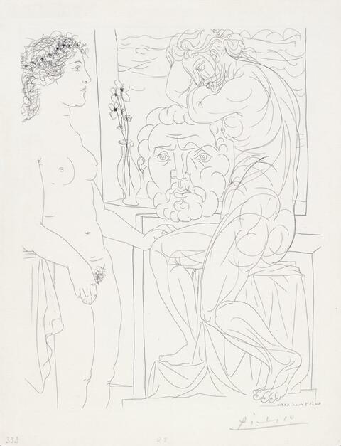 Pablo Picasso - Femme laide devant la sculpture d'une Marie-Thérèse athlétique appuyée sur un autoportrait du sculpteur