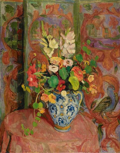 Hans Purrmann - Gladiolas and Nastriums in Vase