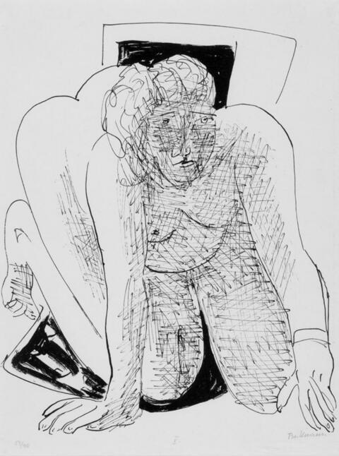 Max Beckmann - Kriechende Frau