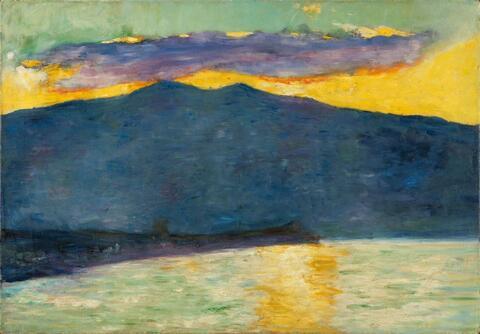 Lesser Ury - Sonnenuntergang am italienischen See (Oberitalien)