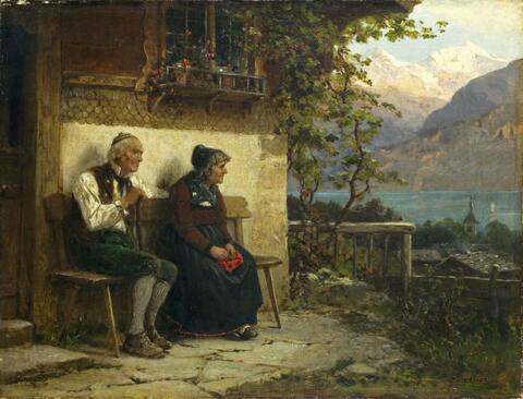 Benjamin Vautier - EVENING. TWO OLD PEASENTS SITTING IN FRONT OF THEIR HOUSE