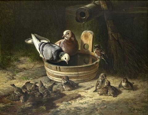 Siegwald Johannes Dahl - DOVES AND SPARROWS AT THE WATERING PLACE