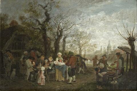 Deutscher Künstler des 19. Jahrhunderts - TAUFFEST AUF DEM LAND