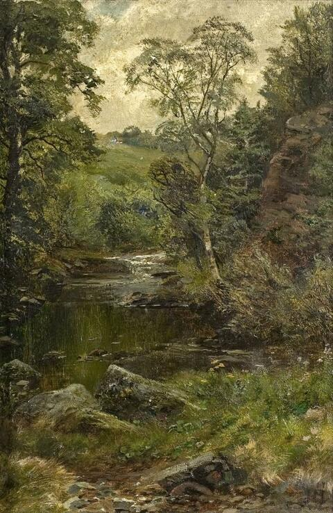 French School, attributed to - CREEK IN THE WOODS