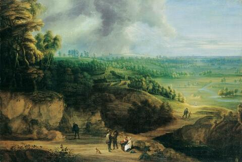 Lucas van Uden and DAVID TENIERS THE YOUNGER - PANORAMIC LANDSCAPE WITH CASTLE AND FIGURES