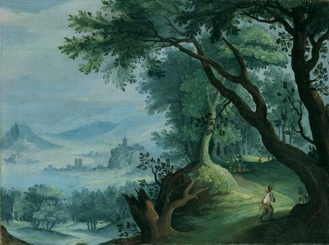 Jan Brueghel the Younger - WOODED LANDSCAPE WITH RIVER IN A VALLEY