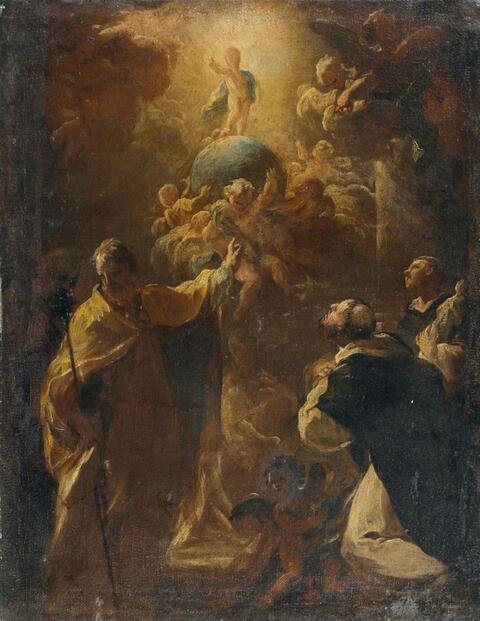 Süddeutscher Meister 18. Jahrhundert - CHRISTUSKNABE AUF EINER WELTKUGEL MIT HL. JOSEPH UND ZWEI DOMINIKANERMÖNCHEN