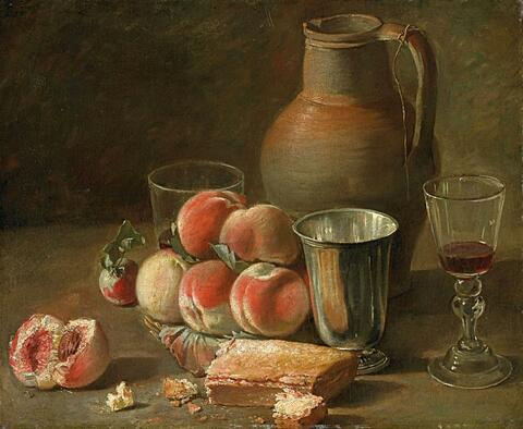 French School, late 18th century - STILL LIFE WITH PEACHES, JAR AND CUP