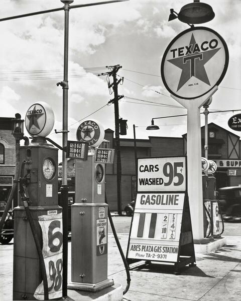 Berenice Abbott - TEXACO STATION, TREMONT AVENUE AND DOCK STREET, BRONX, NEW YORK