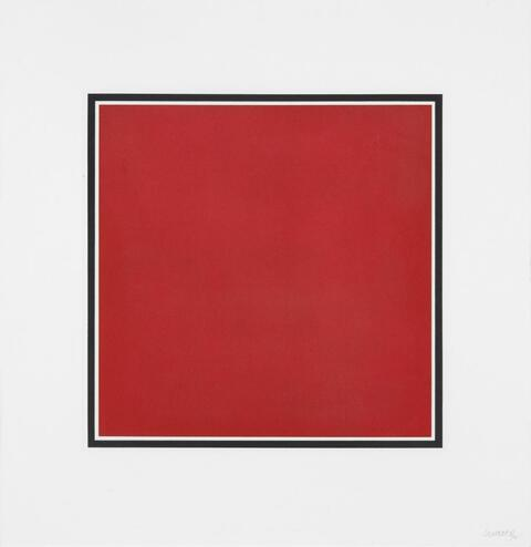Sol LeWitt - Red, yellow, blue and gray squares, bordered by a black band