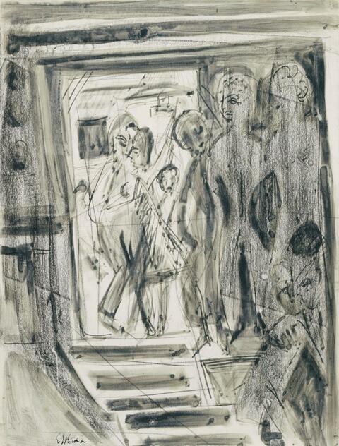 Ernst Ludwig Kirchner - Interieur mit Besuchern (Interior with visitors. Staircase in Wildboden house)