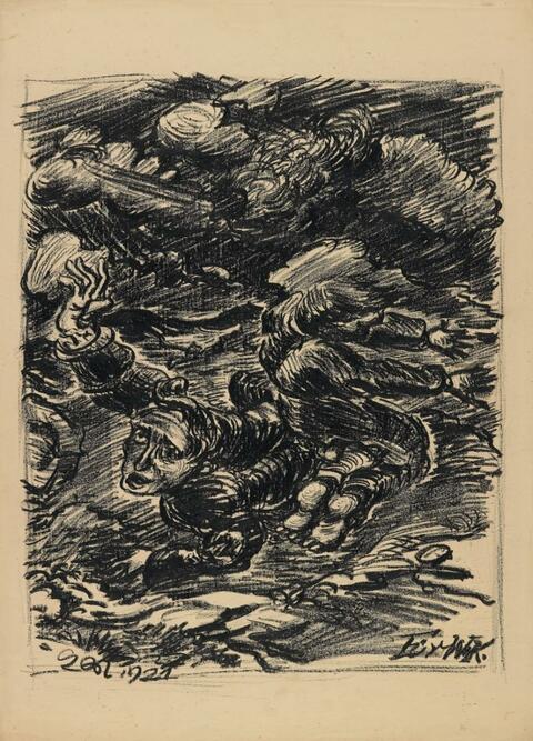 Ludwig Meidner - Zwei Ekstatiker in apokalyptischer Landschaft (Two men in ecstasies in apocalyptic landscape)