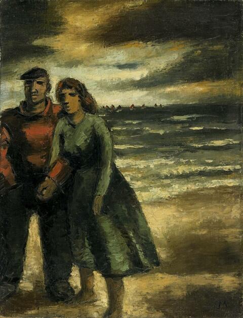 Frans Masereel - Promenade sur la Plage ou Couple a la Plage