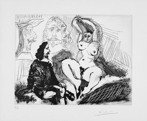 Pablo Picasso - Homme assis auprès d'une femme se coiffant, avec, derrière, deux peintres