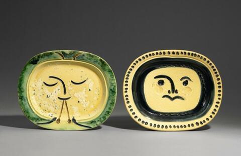 Pablo Picasso - Visage gravé, fond grège