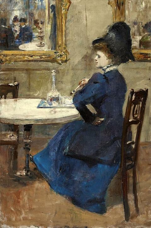 Lesser Ury - Dame im blauen Kleid im Café