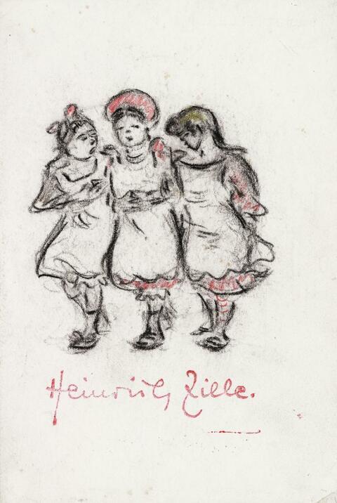 Heinrich Zille - Drei Mädchen, untergehakt