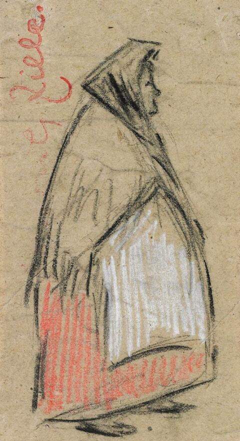 Heinrich Zille - 2 Zeichnungen Frau im Fransentuch mit weisser Schürze. Dame mit Hut und Stola - Rückenfigur