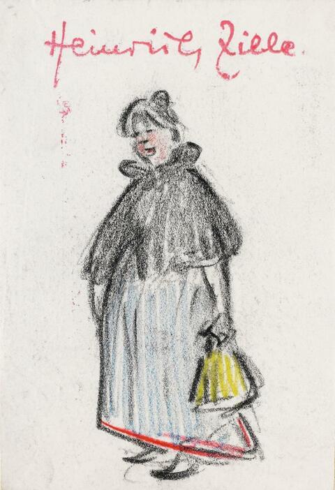 Heinrich Zille - Dienstmädchen mit gelber Tasche