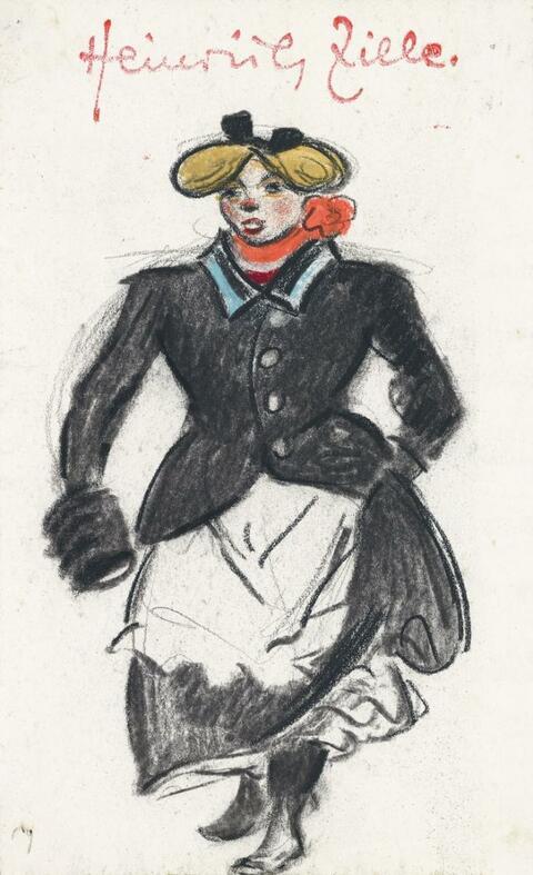 Heinrich Zille - Ein kesses Berliner Mädchen mit Muff