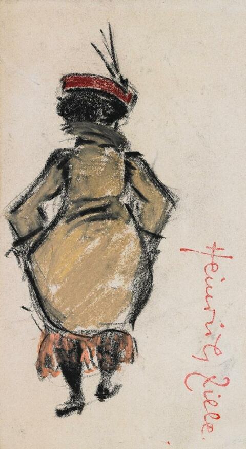 Heinrich Zille - Dame im roten Federhut von hinten, den Mantel raffend