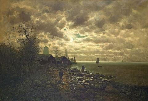Johann Jungblut - COASTAL LANDSCAPE IN THE NIGHT