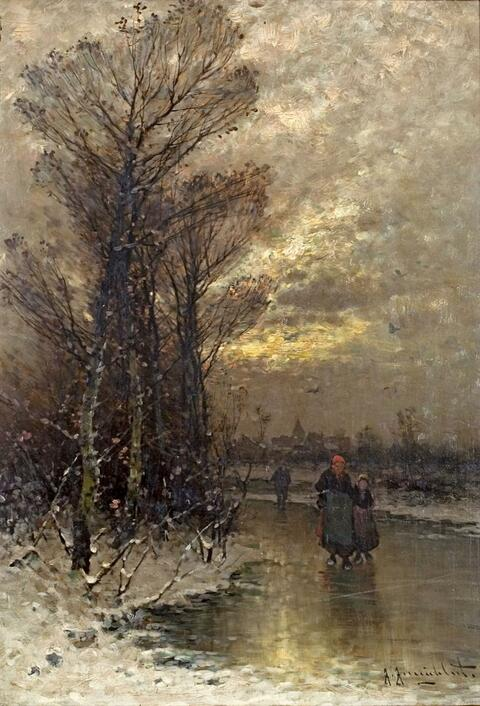 Johann Jungblut - WINTERLANDSCAPE IN THE EVENING