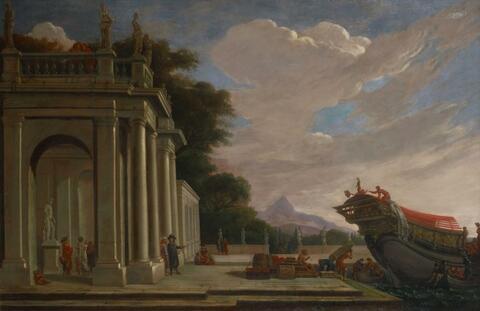 Französischer Meister des 18. Jahrhunderts - HAFEN MIT KLASSISCHER ARCHITEKTURSTAFFAGE