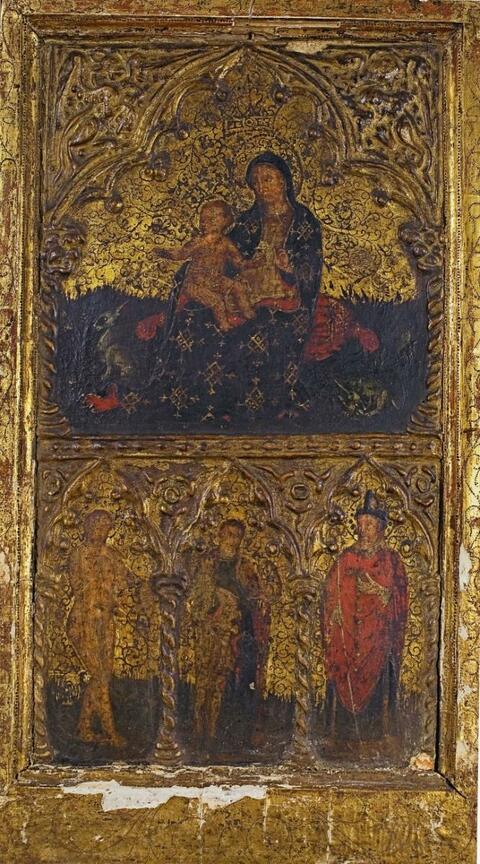 Italienischer Meister (Umbrien?) 15. Jahrhundert - MADONNA MIT KIND UND HEILIGEN