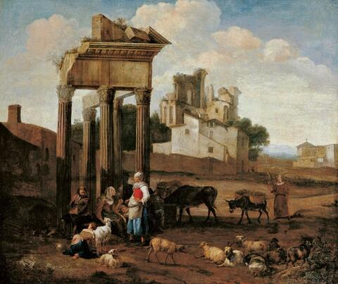 Hendrik Mommers - LANDCAPE WITH RUINS AND SHEPHERDS