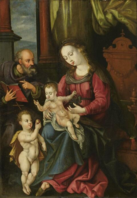 Netherlandish School (Antwerp?) , second half 16th century - HOLY FAMILY WITH THE INFANT JOHN THE BAPTIST