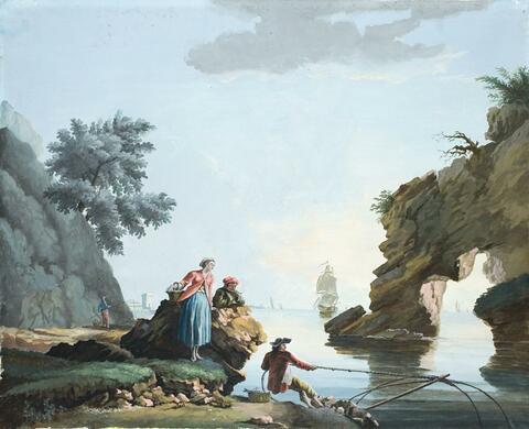 Französischer Meister des späten 18. Jahrhunderts. - UFERLANDSCHAFT BEI RUHIGER SEE UFERLANDSCHAFT BEI STÜRMISCHER SEE