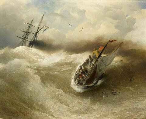 Andreas Achenbach - BOATS IN STORMY SEA