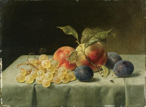 Emilie Preyer - FRUIT STILL LIFE WITH PEACHES, PLUMS, AND GRAPES