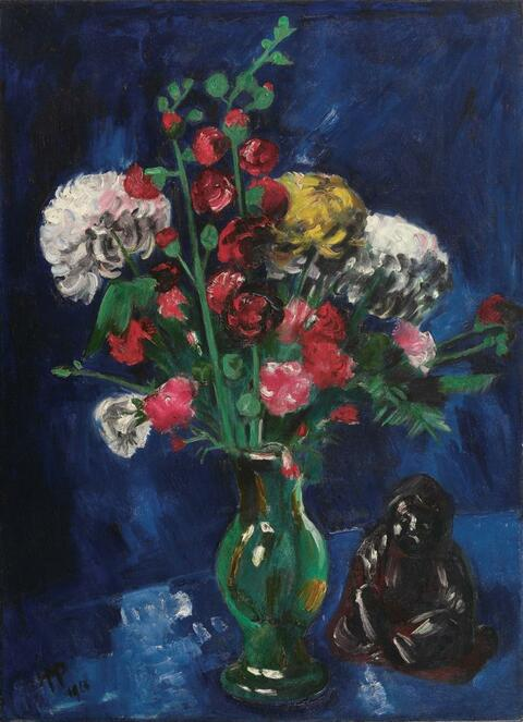 Hermann Max Pechstein - Flower Still-Life with Chinese Buddah