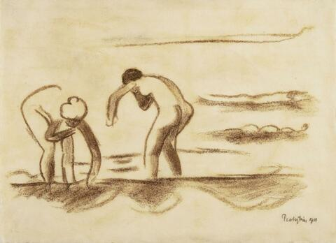 Hermann Max Pechstein - Two bathing Female Nudes