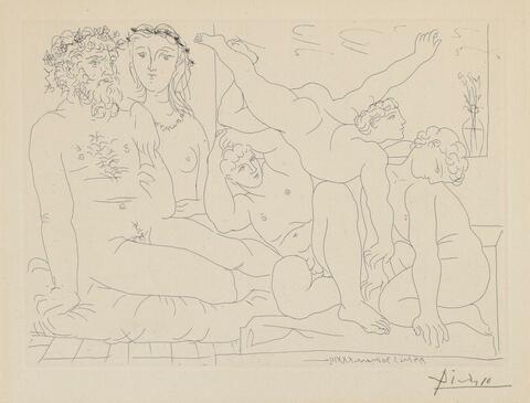Pablo Picasso - Sculpteur et son modèle avec un groupe sculpté représentant des athlètes