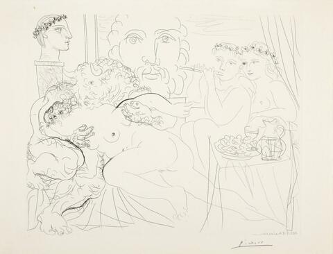 Pablo Picasso - Autoportrait sous trois formes: peintre couronné, sculpteur en buste et minotaure amoureux