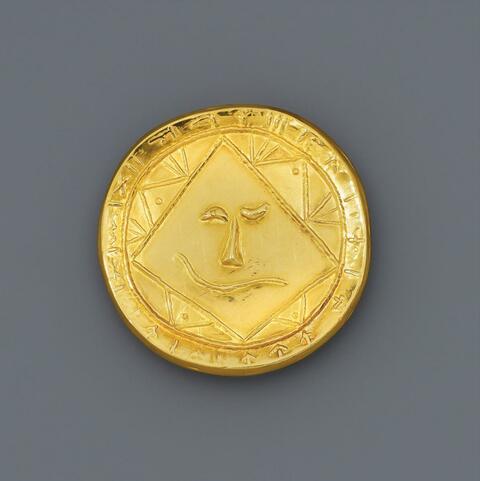 Pablo Picasso - Tête géométrique. Médaillon Or
