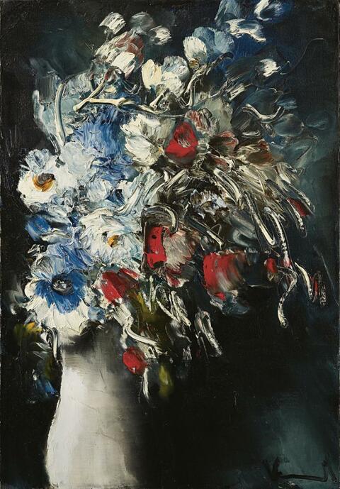 Maurice de Vlaminck - Bouquet de fleurs au vase blanc